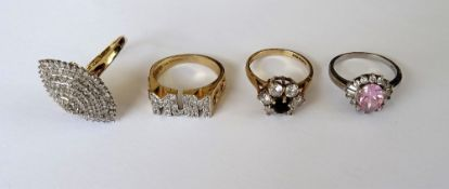 A 9ct gold and colourless gem set ring, detailed MUM,