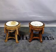 A pair of 19th century Continental swag mounted urn stands on claw feet, 37cm wide x 44cm high, (a.
