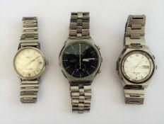 A Seiko Chronograph Automatic steel gentleman's bracelet wristwatch,