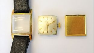 A Longines gold square cased lady's wristwatch, with a signed jewelled movement,