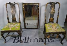 A pair of Queen Anne style Japanned vase back side chairs and a similar rectangular wall mirror,