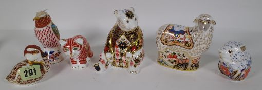 Six Royal Crown Derby Imari paperweights including a duckling, mouse, cat, hummingbird, bear, sheep,