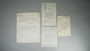 WRITERS AND AUDIO BOOKS: a group of five related letters, includes Vera Brittain, a typed letter,