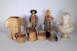Ceramics, including; Lambeth pottery, a Nelson Toby jug,