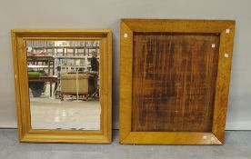 An early 20th century pine rectangular wall mirror, 54cm wide x 65cm high,