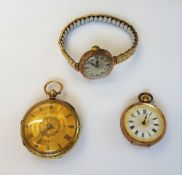 An 18ct gold cased, key wind, openfaced lady's fob watch, detailed to the back plate,