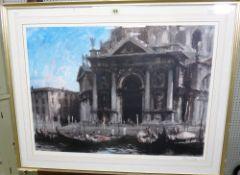 Edward Seago (1910-1974), Santa Maria della Salute, Venice, colour reproduction, signed in pencil,
