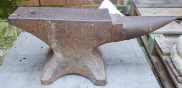 An early 20th century cast iron blacksmith's anvil, 70cm x 30cm high.