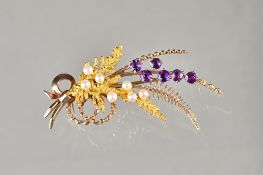 A 9ct gold, amethyst and cultured pearl brooch, designed as a spray, Birmingham 1967,