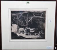 George Soper (1870-1942), In the Barn, etching with aquatint, signed and numbered 15/50, 28.