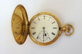An 18ct gold cased, keyless wind, hunting cased gentleman's pocket watch,