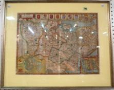 A hand coloured map of Kent, late 17th century by Speed, framed & glazed, 54cm x 66cm.