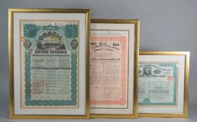 SCRIPOPHILY: a group of three Railway Company Share Certificates, includes,