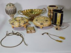 Collectables, comprising; four 20th century bone pots and vases, a brass twin handled centre bowl,