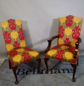 A set of ten 20th century upholstered highback dining chairs on cabriole suppports to include two
