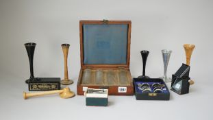 An Adams & Co metal view finder, two French micrographs,
