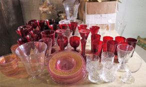 Ceramics and glass, including; Royal Crown Derby, Olde Avesbury pattern part service,