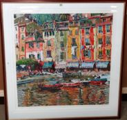 Marco Sassone (b.1942), Waterfront, colour serigraph, signed, 91cm x 91cm.