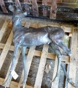 Gll Parker (b. 1957), Roe buck, bronze, (a.f.), 120cm high.