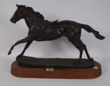 A 20th century spelter model of a racehorse, (a.f.).