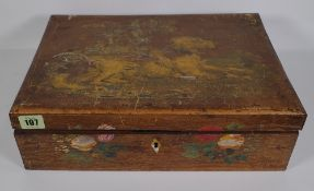 A French painted fruitwood rectangular sewing box, 19th century, the hinged lid painted with a dog,