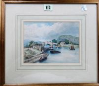 English School (19th century), River scene with figures by a bridge; Vessels off a rocky coastline,