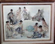 Sir William Russell Flint (1880-1969), Variations on a theme; The Four Sisters, Chazelet,