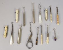 A small collection of miniature novelty button hooks and related collectables, mother-of-pearl,