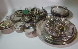 Silver plated wares, including; twin handled trays, octagonal plates, egg cup, jugs and sundry,