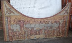 A 20th century painted theatre back drop of 'The Last Supper'.