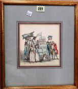 Manner of Thomas Rowlandson, The Punch and Judy stall, pen, ink and watercolour, 16cm x 15cm.