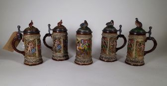 Gerz W Germany; five 20th century ceramic beer tankards with metal lids, each 22cm high, (5).