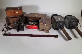 Collectables, including; 19th century boxes, a pair of coaching lamps, binoculars and sundry, (qty).
