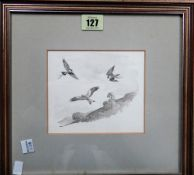 A group of three, including a monochrome study of Peregrines attacking Red Kite, by Donald Watson,
