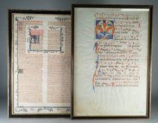 ILLUMINATED MANUSCRIPTS; two manuscript leaves, ca.