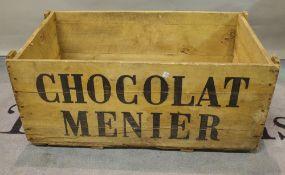 Chocolat Menier, an early 20th century salesman's transport box, 88cm wide x 37cm high.