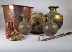 Copper and brass, including; 19th century and later lantern, copper copper and sundry, (qty).