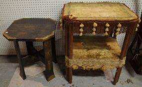 A late Victorian Aesthetic upholstered two tier side table, 62cm wide x 75cm high,