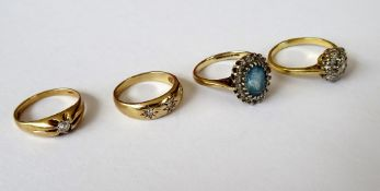 A gold, diamond and colourless gem set cluster ring, detailed 18 CT, gross weight 2.