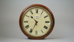 A Victorian mahogany cased dial clock with 12inch painted dial and chain driven single fusee