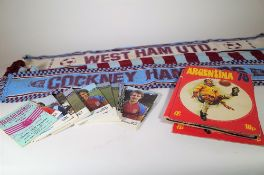Football interest, a quantity of West Ham football programs, scarves and sundry.
