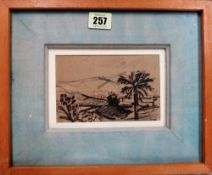 Joan Souter-Robertson (1903-1994), Landscape, pen and ink, signed with initials, 10cm x 14.5cm.