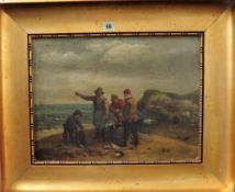 Follower of George Morland, Fisherfolk on the shore, oil on canvas laid on board, bears a signature,