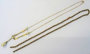 A gold and imitation pearl pendant necklace,