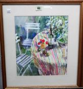 Jane Camp (20th/21st century), The Striped Cloth; In the Conservatory, two gouache, both signed,