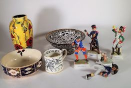 Ceramics, including; a group of four Goeble figures, a Tuscan Ware vase, a glass dish and sundry,