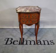 A 19th century French serpentine marble topped ormolu mounted two drawer side table on outswept