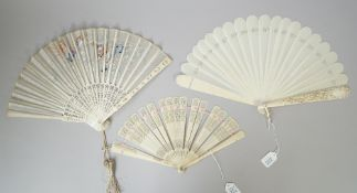 A continental ivory fan, 19th century,