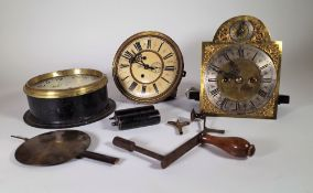 Horological interest, a group of clock movements and parts.