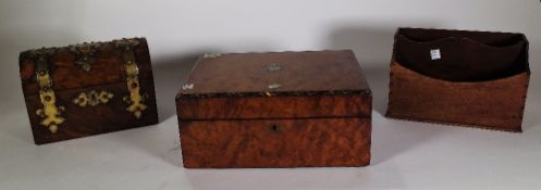A Victorian walnut and brass bound domed box, 23cm wide x 17cm high,